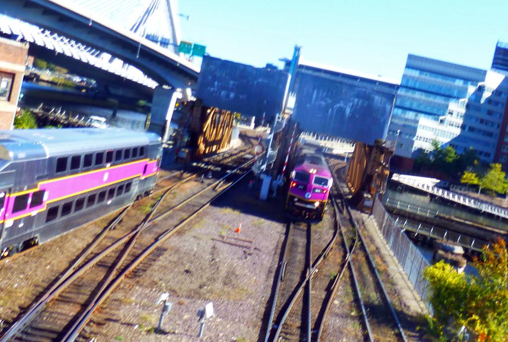 North Station Drawbridges with 2 trains