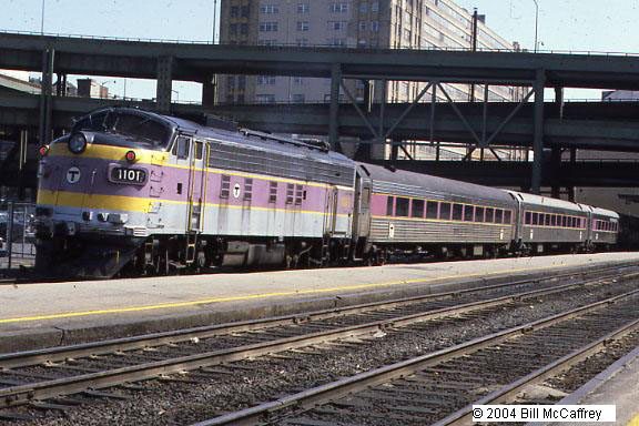 "North Station Commuter Rail - This is before the ""Big Dig"" and the construction of the TD Bank North Garden. An outbound commuter train awaits the afternoon rush hour."