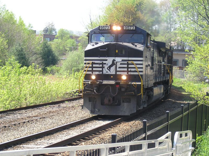 Greenfiled, MA  - - - Photo 3 of 3, The Norfolk Southern  lead engine almost fills the frame, the trailing engines and the train are barely visible.  - - May, 2004