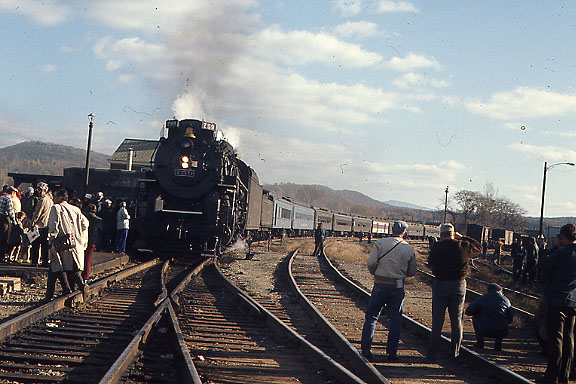 White River Junction, Vermont - Oct. 27, 1973 - Former Nickel Plate Berkshire type steam engine ran a 2 day trip from Boston to Montpelier, VT.  The engine and cars were provided by the Steamtown Foundation. This photo is on Central Vermont trackage. It would  not be possible to repeat this trip today. Most of the Boston and Maine trackage between Concord, NH and White River has been abandoned.
