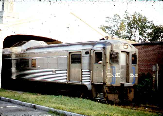 From a slide taken in 1972 at Lexington, MA - B&M Train number 731 emerges from train shed