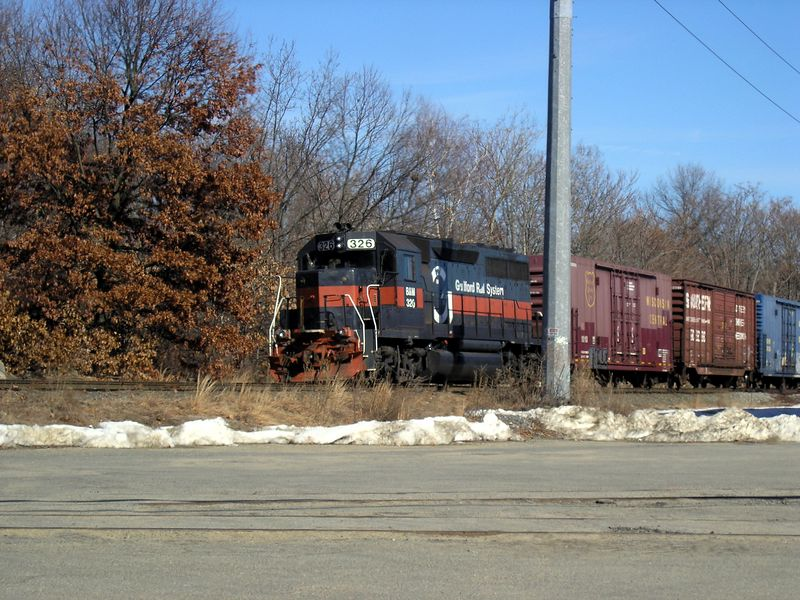Guilford Engine 326 on the Freight Main Line near the Meadowcroft Street crossing in Lowell, Massahusetts on Sunday, Feb. 20, 2005
