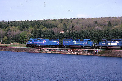 1992 - Shot 6 of 7 - Conrail power on coal train. The location is the former Worcester, Nashua, and Portland Division of the Boston and Maine RR a little south of Oakdale, MA