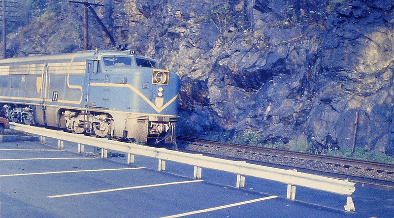 ALCO PA NUMBER 17 at Wellesley Hills with an Inbound Commuter Train
