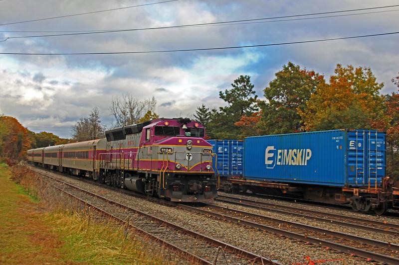 Ayer - MBTA Train Running East on Westward Track