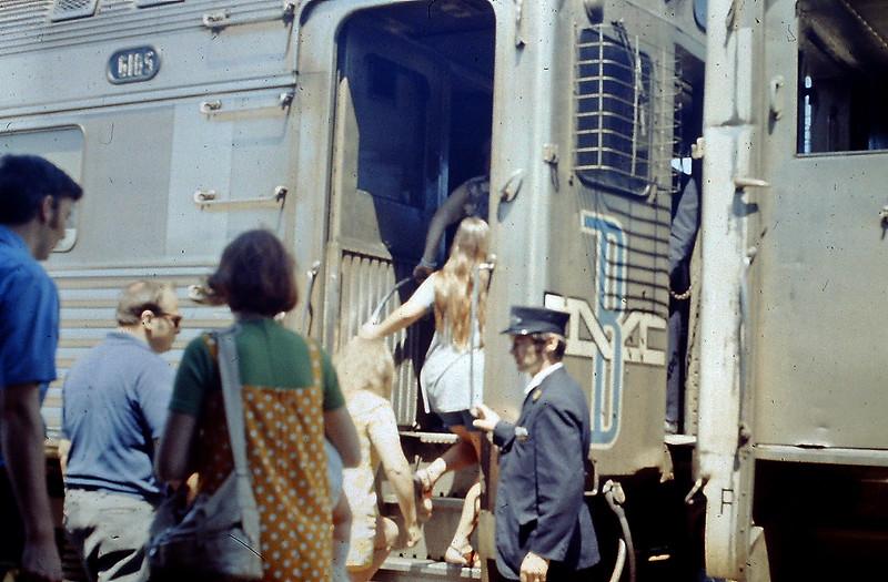West Concod, Mass. - Boarding an RDC Train