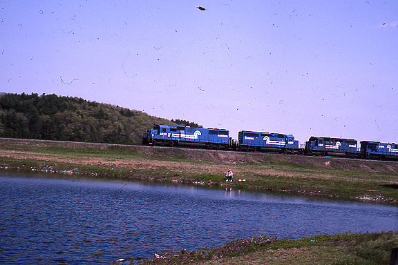 1992 - Shot 2 of 7 - Conrail power on coal train. The location is the former Worcester, Nashua, and Portland Division of the Boston and Maine RR a little south of Oakdale, MA