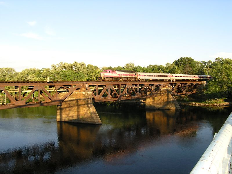 Train 235 crossing Merrimack River from Bradford to Haverhill on June 21, 2004 - Sequence 2 of 3