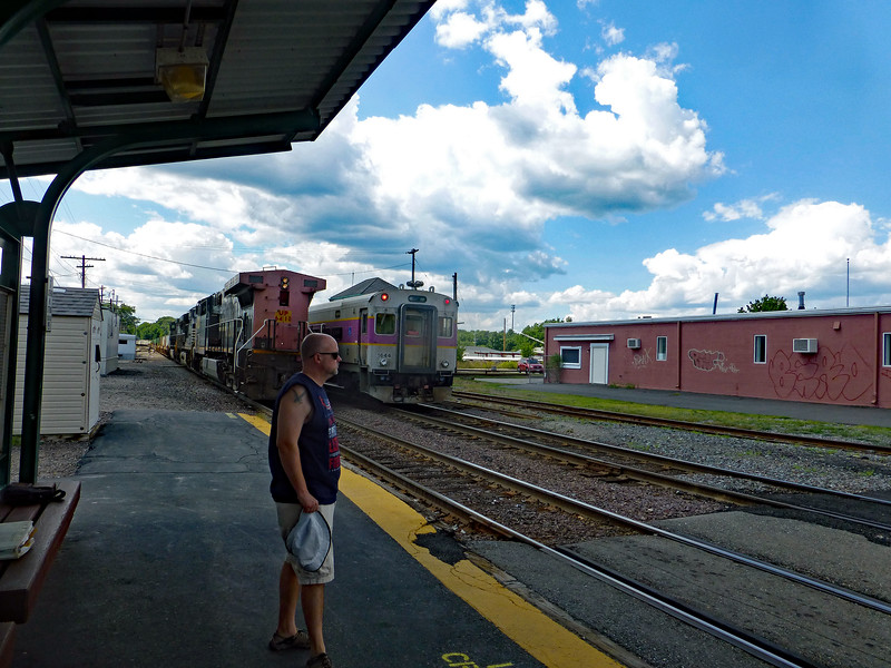 Ayer Outbound Commuter Train Passes SP Engine
