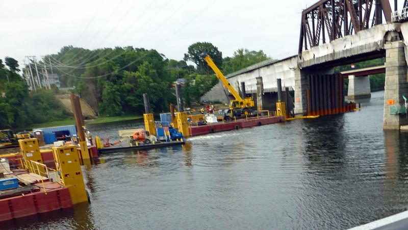 Merrimack River Bridge Construction Barges