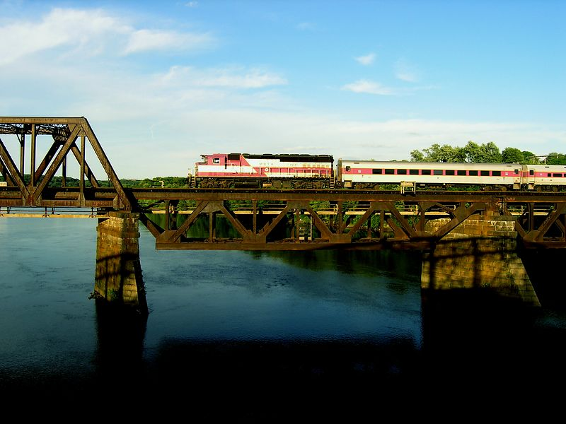 Train 235 crossing Merrimack River from Bradford to Haverhill on June 21, 2004 - Sequence 3 of 3