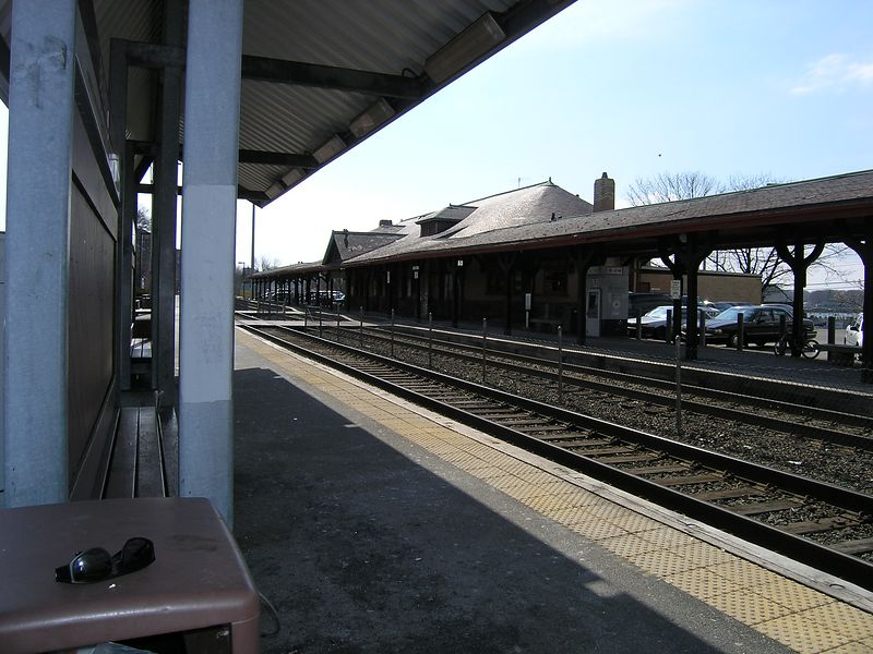 Beverly Depot - This view is from across the tracks looking toward Salem. This track is now owned by the MBTA. It used to be the Eastern Route Mainline of  the Portland Division of the B&M.