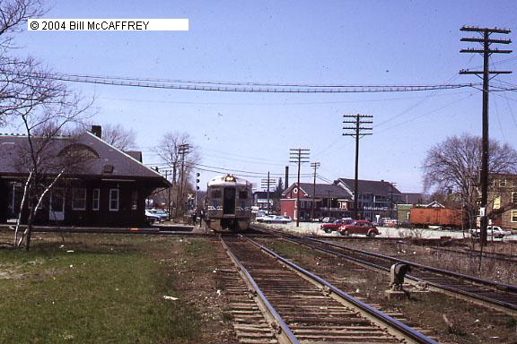 1972 - West Concord, Mass. - A Boston bound RDC is crossing the Penn Central (ex-New Haven) diamond.