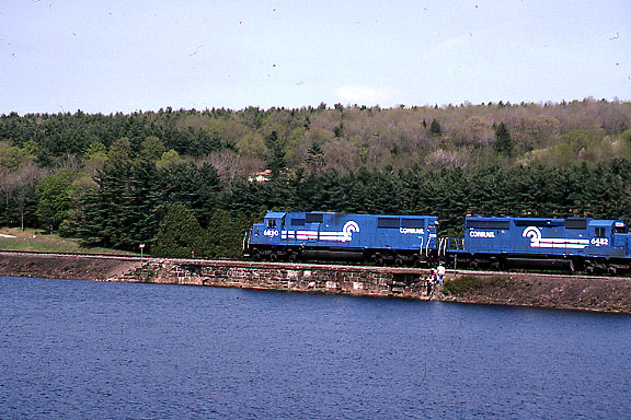 1992 - Shot 5 of 7 - Conrail power on coal train. The location is the former Worcester, Nashua, and Portland Division of the Boston and Maine RR a little south of Oakdale, MA
