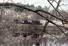 Tyngsboro Curve (Massachusetts) - A famous spot for B&M photography, usually shot from the highway bridge. But this day the train showed up after I was leaving after a long wait. So I shot through the trees on the opposite bank of the Merrimack River. Winter 2002