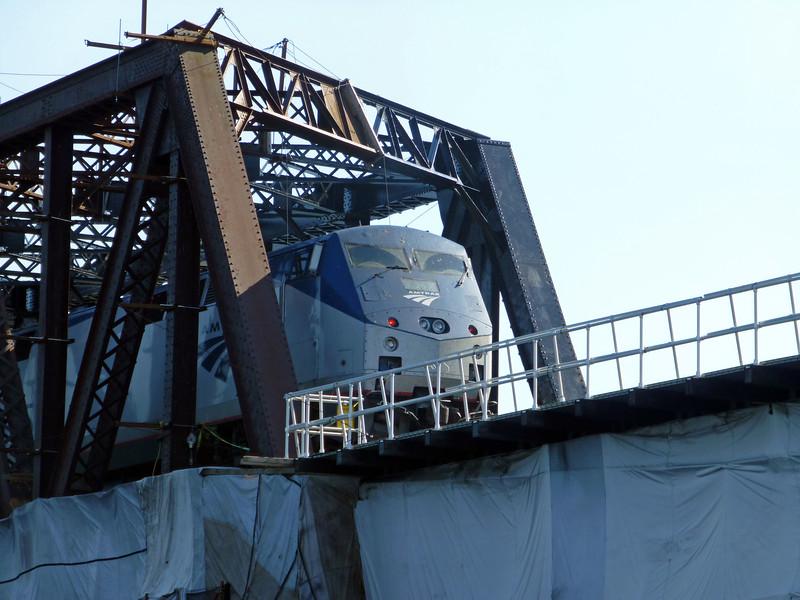Merrimack River Bridge Under Construction with Downeaster