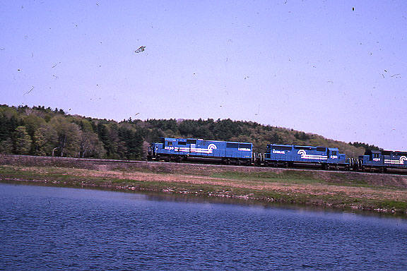 1992 - Shot 3 of 7 - Conrail power on coal train. The location is the former Worcester, Nashua, and Portland Division of the Boston and Maine RR a little south of Oakdale, MA