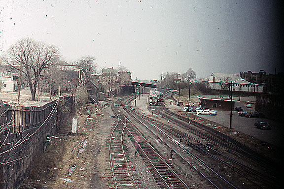 RDC's layover at the small brick station at Lowell, MA - This is before tax dollars were used to build the Gallagher Transportation Center