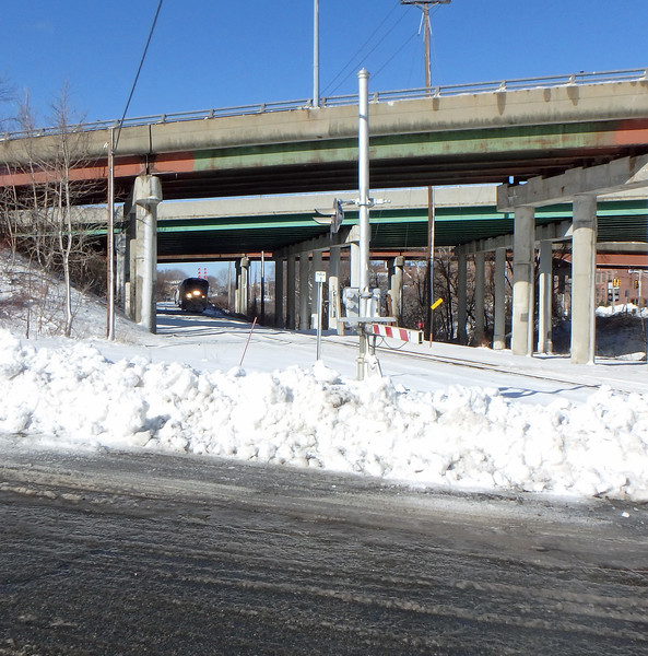 Downeaster Train 681 in Lawrence Under Interstate 495 Bridge
