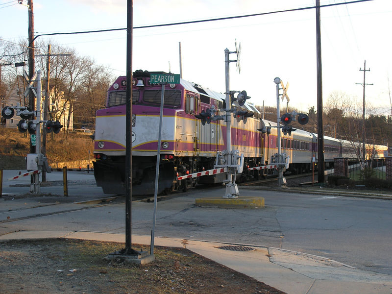 Andover, MA - MBTA Engine 1069 is pushing train 2216 inbound to Boston on 2/5/2006