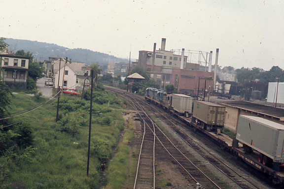 Westbound piggyback train approaches Fitchburg Tower in the early 70's