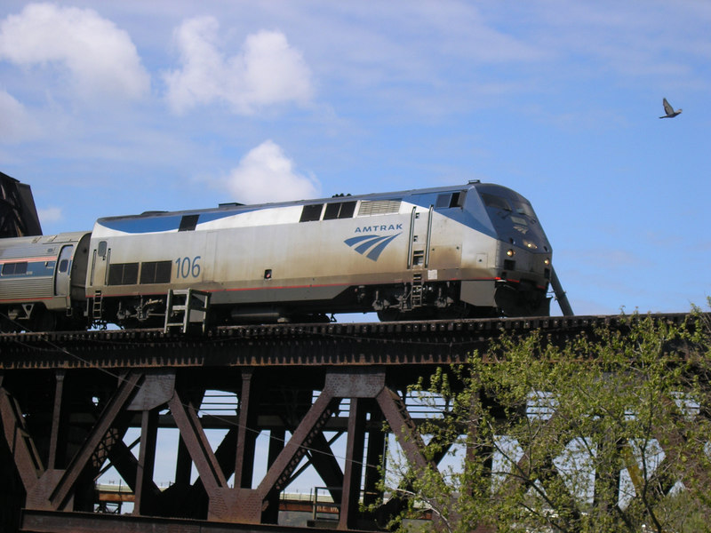 Amtrak Engine Number 106 hauling Train 681 the Downeaster at Haverhill, MA in May, 2006