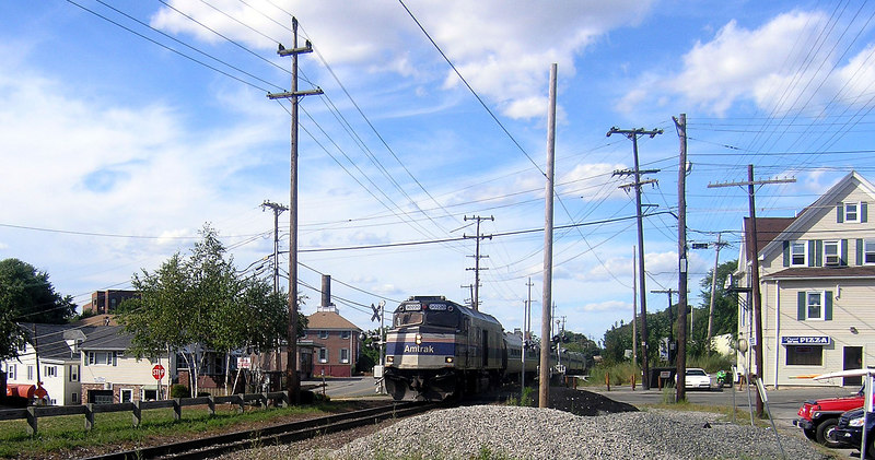 Andover, MA - Amtrak Train 684, the inbound Downeaster - The photographer is standing on the platform of the former Boston and Maine Andover Depot. The end of the train is passing the current MBTA Andover boarding platform.