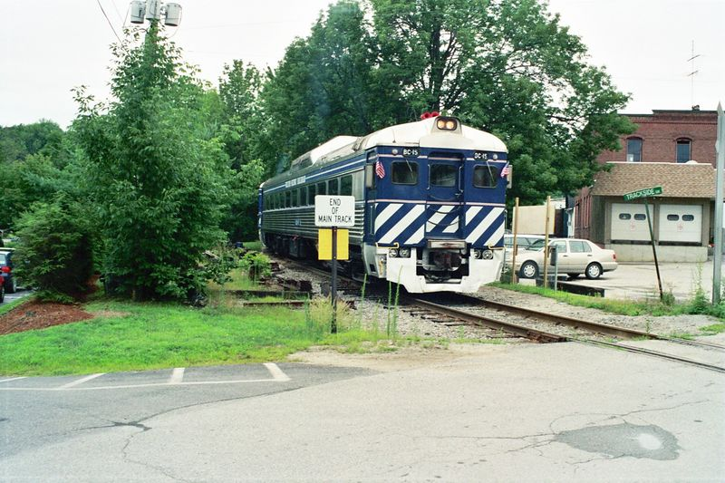 The Wilton Scenic RR operated on a portion of the former Boston and Maine Keene Branch in New Hampshire. The Budd Rail Diesel Car (RDC) comes from the British Columbia Railway. July, 2004