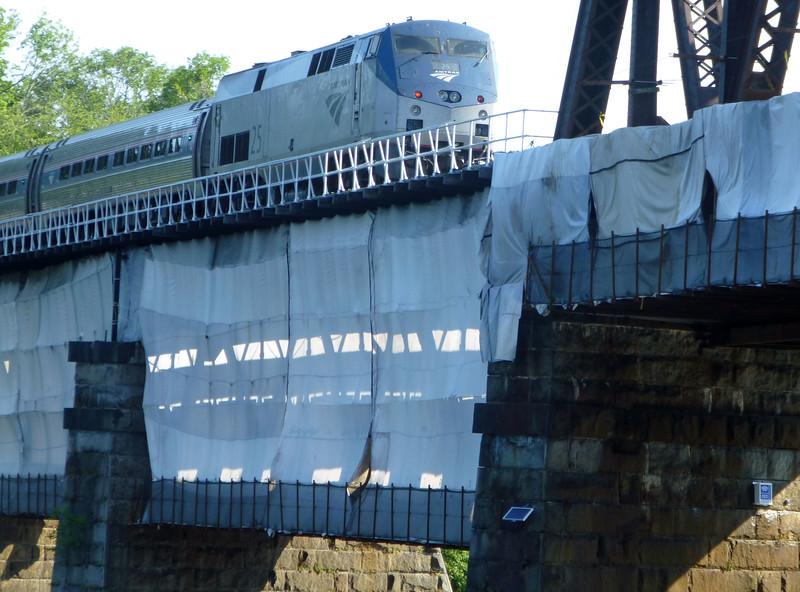 Merrimack River Bridge Amtrak Engine 25 Pushes Train 696