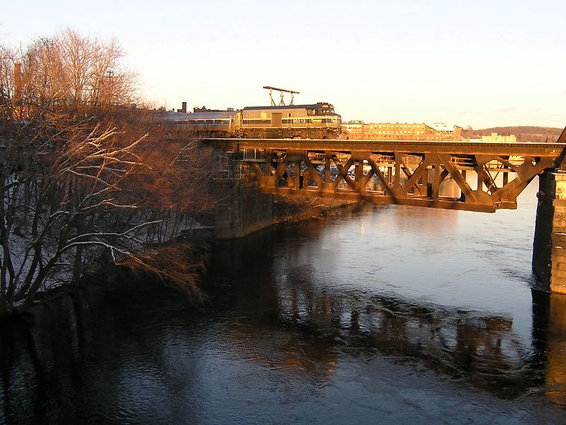 Amtrak Train 684, the Downeaster crossing the Merrimack River at Haverhill, MA.