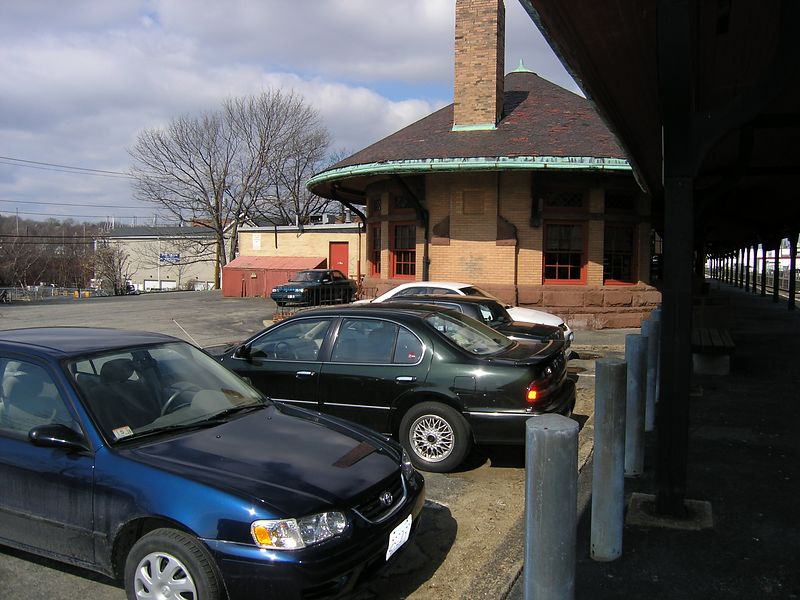 Beverly Depot. The west end of the former B&M Depot in Beverly, Mass. The depot is now a restaurant but MBTA commuter trains still stop here. - March, 2004
