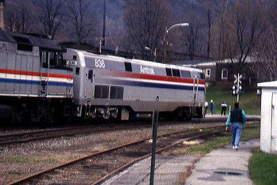 Bellows Falls Amtrak Engine 836 in 1995