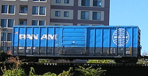 OLYMPUS DIGITAL CAMERA  11/7/2007 - Pan Am box car on Eastbound freight at Haverhill, MA