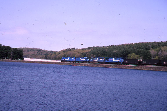 1992 - Shot 7 of 7 - Conrail power on coal train. The location is the former Worcester, Nashua, and Portland Division of the Boston and Maine RR a little south of Oakdale, MA