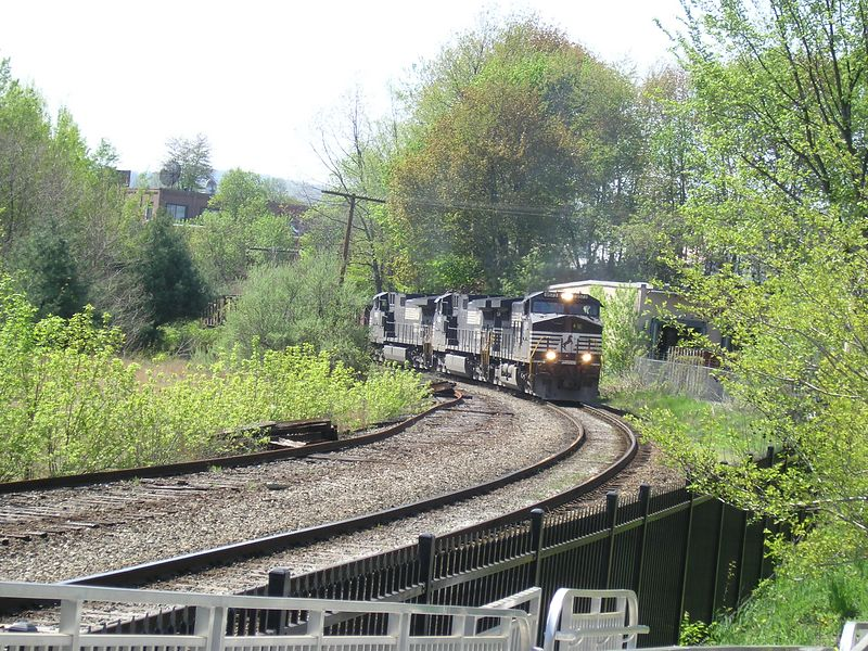 Greenfiled, Mass. Former depot site - This is Guilford's Freight Main Line. Photo is the the first of three of a slow moving eastbound coal train