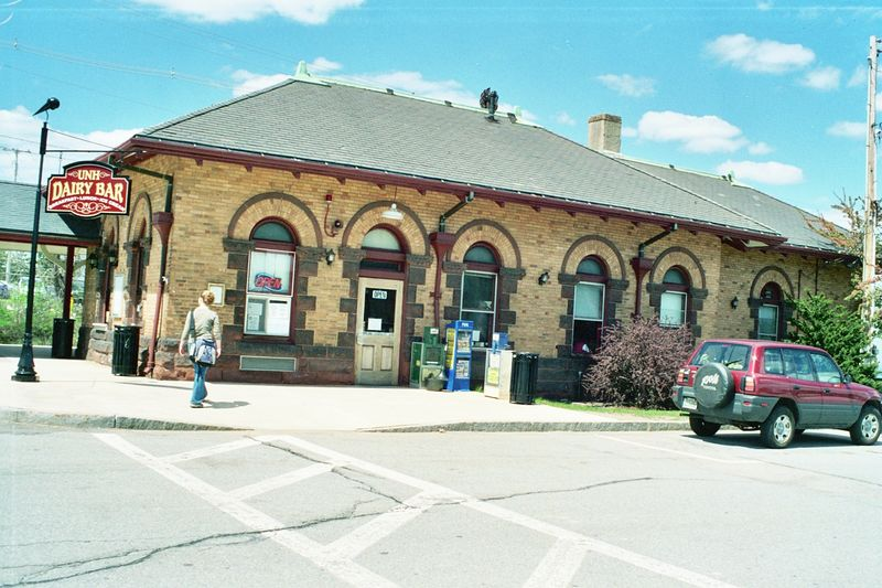 Former Boston and Maine RR Depot at Durham, New Hampshire. It is now the University of New Hampshire Dairy Bar and a stop for Amtrak's Downeaster. May, 2005