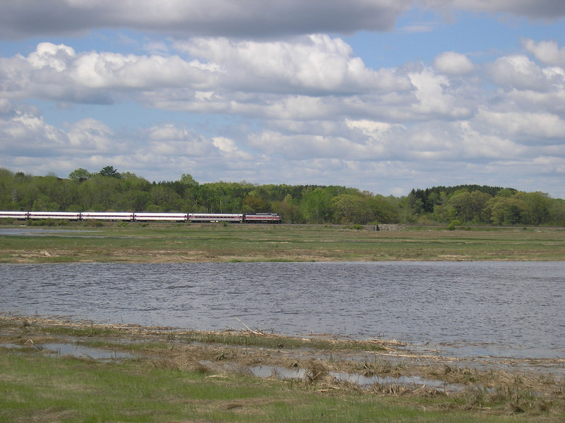 OLYMPUS DIGITAL CAMERA - - - May 24, 2006 - - - Newbury, MA - - - Train Number 161 running through the salt marshes next to the Little River