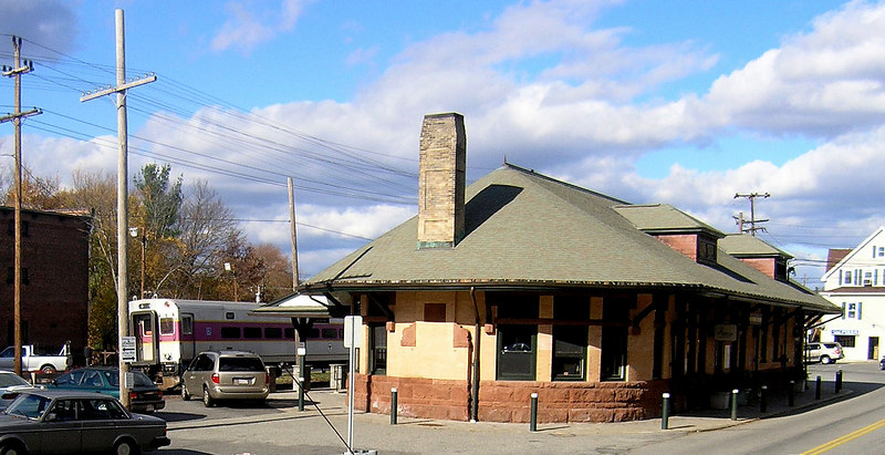 Nov. 3, 2006 - Andover Depot from the street side with the last car of train number 215 in the background.    OLYMPUS DIGITAL CAMERA