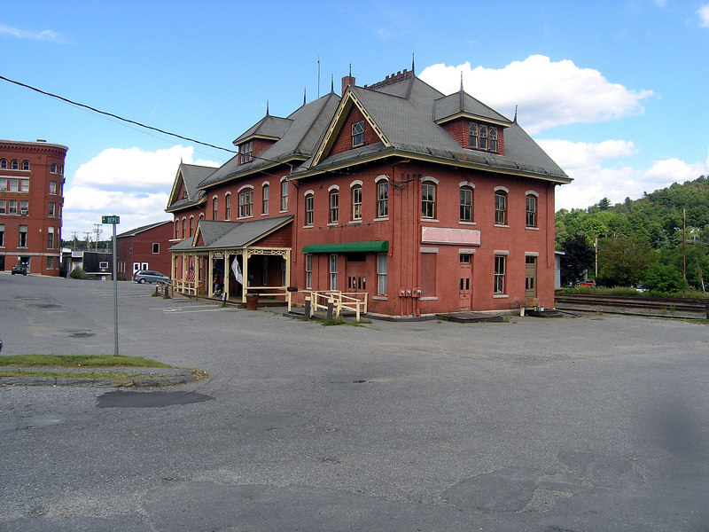 The former railroad depot at St. Johnsbury, Vermont on 8/25/2006. In the past this depot was used by trains of the Boston and Maine, the Canadian Pacific, the Maine Central and shortline St. Johnsbury and Lake Champlain. The building is no longer railroad owned. There is no passenger service and rail freight activity is usually just one train a day.
