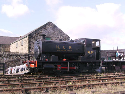 No 22 at the platform, probably being coaled from the sacks seen to the left of the loco.