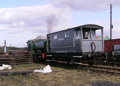 W S T with one of the brake vans. Not many brake vans have web addresses on them, methinks!