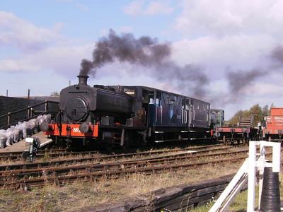 No 22 at the head of a brake van train, with W S T at the rear
