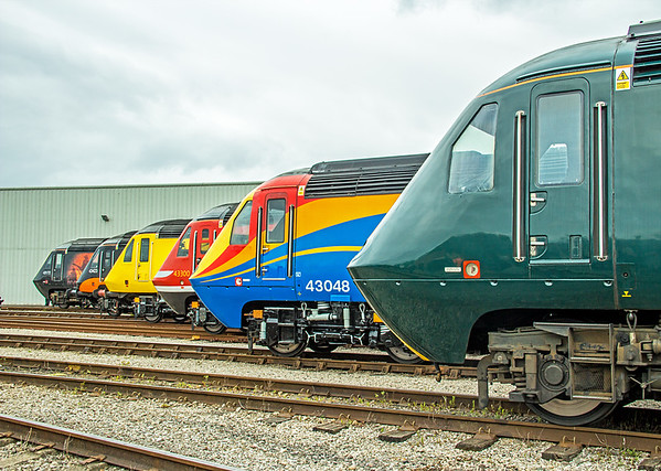 Line-up of HST power cars at St Philip's Marsh