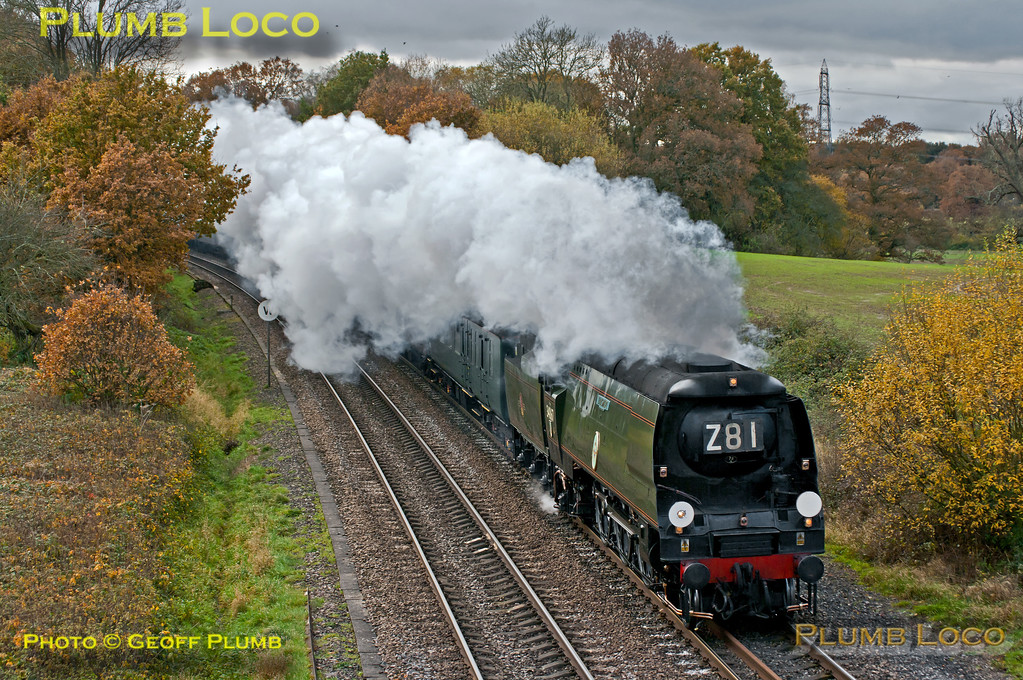 "SR unrebuilt ""Battle of Britain"" 4-6-2 No. 34067 ""Tangmere"" is working nicely at the head of 1Z92, ""The Capital Christmas Express"", 08:25 from Weymouth to Paddington at Silchester on the line from Basingstoke to Reading. The loco had adhesion problems in the earlier part of the trip and at one stage was around 90 minutes late, by this time it had regained some of the time and was around 70 minutes late at this point. 12:41, Saturday 17th November 2012. Digital Image No. GMPI12915."