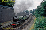 """After undergoing some repairs, LNER A3 No. 4472 """"Flying Scotsman"""" is working a test train from Marylebone and making a spirited start away from an examination stop on the down through line at High Wycombe. September 1986. Slide No. 17670."""