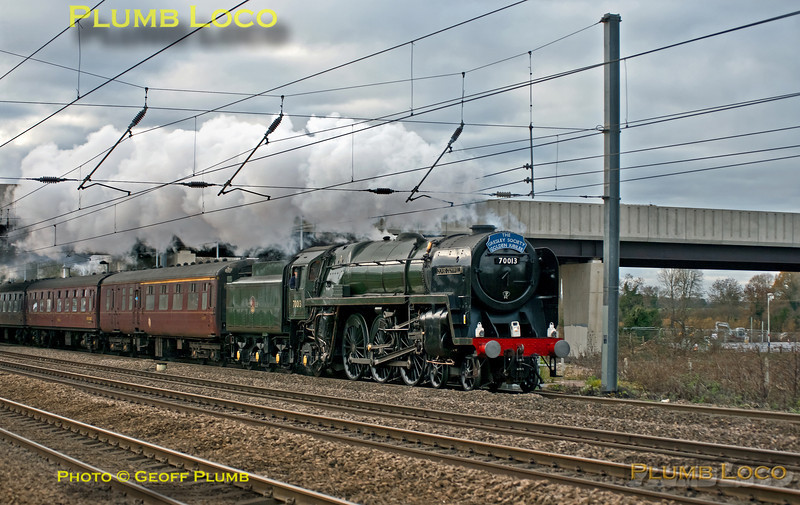 """70013 """"Oliver Cromwell"""", Arlesey, 1Z45, 7th December 2013"""