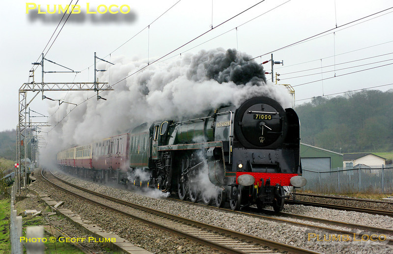 "BR Standard 4-6-2 No. 71000 ""Duke of Gloucester"" roars along the WCML and leaves a smokescreen over Old Linslade as it heads north on the down slow line with 1Z71, ""The Salopian"". This was the 07:40 from Euston to Shrewsbury and the train was running around 15 minutes late at 08:46 on Saturday 5th March 2011. Digital Image No. GMPI8111."