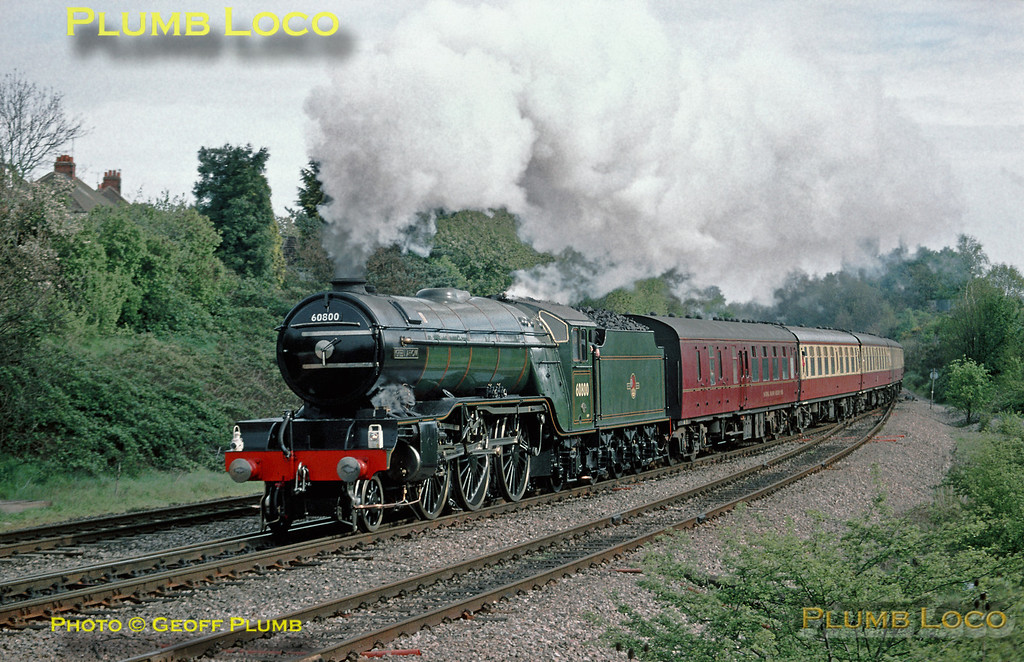 "Looking resplendent in BR Brunswick Green livery, LNER Gresley V2 2-6-2 No. 60800 ""Green Arrow"" takes the Berks & Hants line at Southcote Junction with ""The Mayflower"" from London Paddington to Plymouth, 09:20, Sunday 25th April 1999. Slide No. 27605."