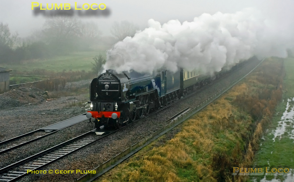 """LNER A1 Class 4-6-2 No. 60163 """"Tornado"""" on its first outing in early BR Blue livery (though hard to tell in the appalling conditions!) as it works 1Z27, """"The Cathedrals Express"""" 08:00 from Paddington to Shrewsbury past Shrivenham at 10:06 on a filthy wet and foggy Saturday 24th November 2012. Digital Image No. GMPI12943."""