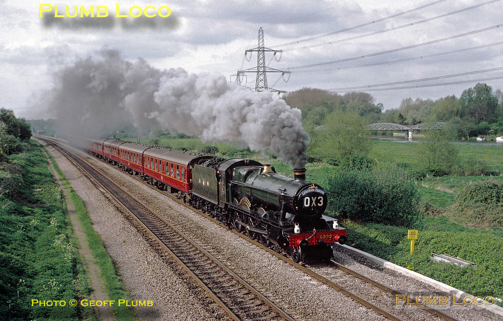 "GWR ""Hall"" Class 4-6-0 No. 6998 ""Burton Agnes Hall"", running as 6990 ""Witherslack Hall"", has just passed Kennington Junction with OX3, the 16:00 from Oxford to Didcot at 16:20 on Sunday 2nd May 1993. Slide No. 23195."